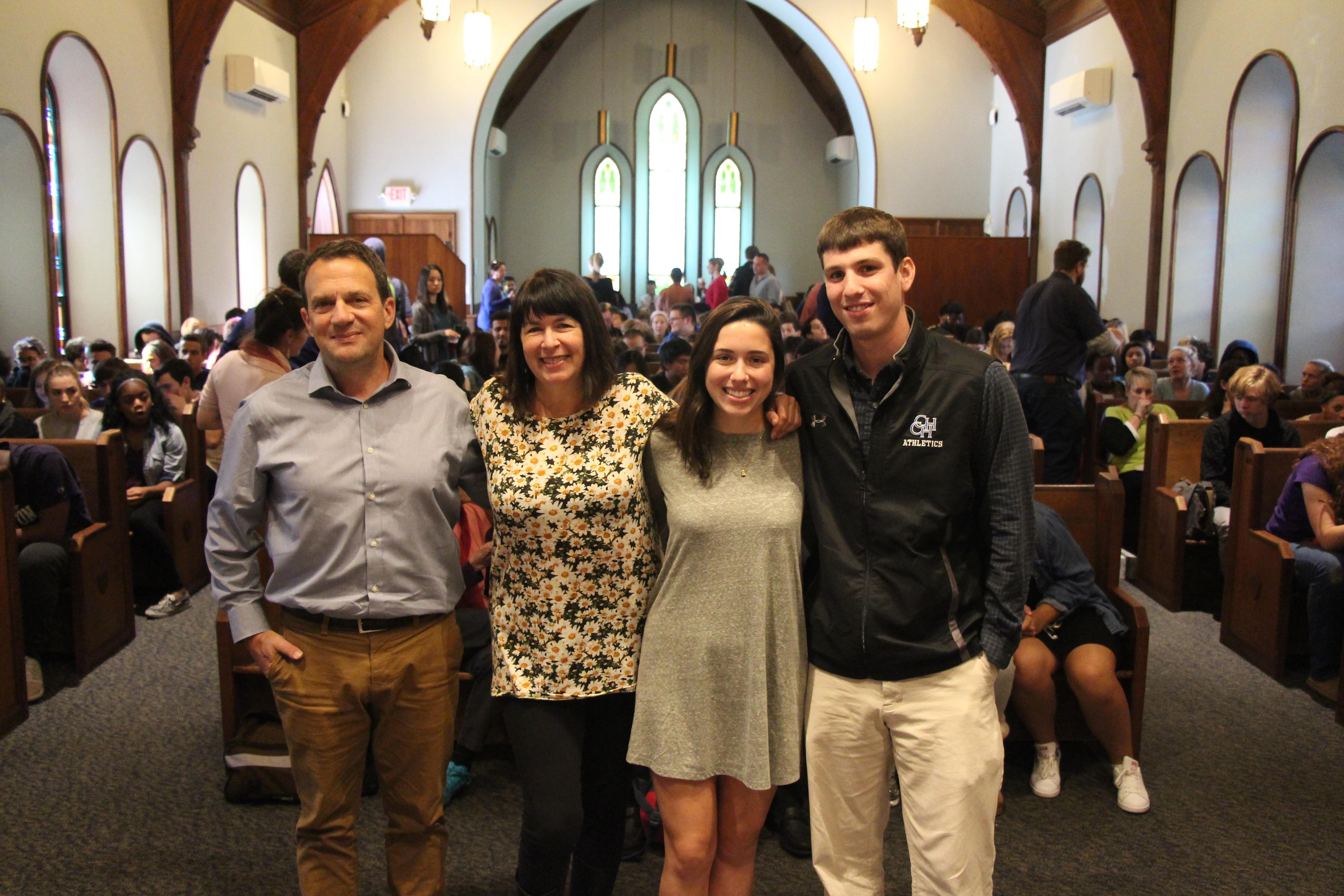 Rae Erdos Steinberg with family and teacher Scott Bloom